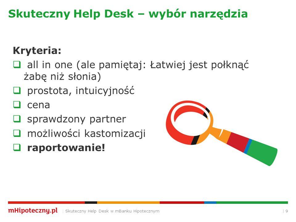 | 9 Skuteczny Help Desk – wybór narzędzia | Skuteczny Help Desk w mBanku Hipotecznym Kryteria:  all in one (ale pamiętaj: Łatwiej jest połknąć żabę niż słonia)  prostota, intuicyjność  cena  sprawdzony partner  możliwości kastomizacji  raportowanie!