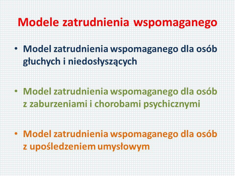 Modele zatrudnienia wspomaganego Model zatrudnienia wspomaganego dla osób głuchych i niedosłyszących Model zatrudnienia wspomaganego dla osób z zaburzeniami i chorobami psychicznymi Model zatrudnienia wspomaganego dla osób z upośledzeniem umysłowym