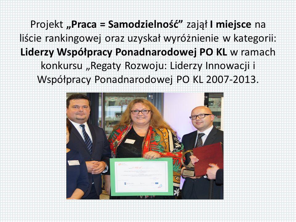 """Projekt """"Praca = Samodzielność zajął I miejsce na liście rankingowej oraz uzyskał wyróżnienie w kategorii: Liderzy Współpracy Ponadnarodowej PO KL w ramach konkursu """"Regaty Rozwoju: Liderzy Innowacji i Współpracy Ponadnarodowej PO KL 2007-2013."""