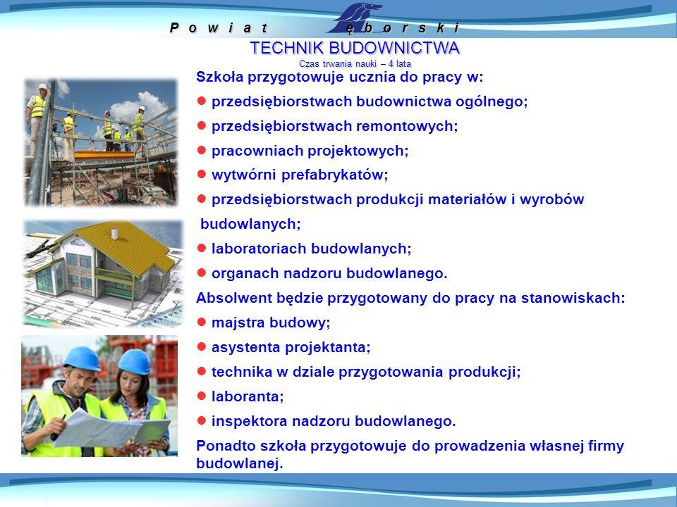 P o w i a t ę b o r s k i TECHNIK URZĄDZEŃ I SYSTEMÓW ENERGETYKI ODNAWIALNEJ Czas trwania nauki – 4 lata Szkoła przygotowuje ucznia do pracy w: w elektrowniach, biogazowniach, ekologicznych kotłowniach; przedsiębiorstwach produkujących i przesyłających energię elektryczną oraz cieplną ze złóż geotermalnych, energii słonecznej i biomasy; w przedsiębiorstwach budujących i serwisujących farmy wiatrowe, elektrownie wodne oraz biogazowe i biogazownie; w firmach instalujących oraz konserwujących solarne i geotermalne systemy grzewcze; w biurach projektów związanych z ekologiczną produkcją energii elektrycznej i cieplnej.