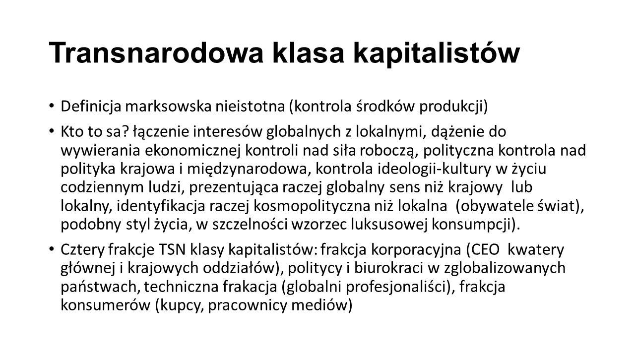Transnarodowa klasa kapitalistów Definicja marksowska nieistotna (kontrola środków produkcji) Kto to sa? łączenie interesów globalnych z lokalnymi, dą