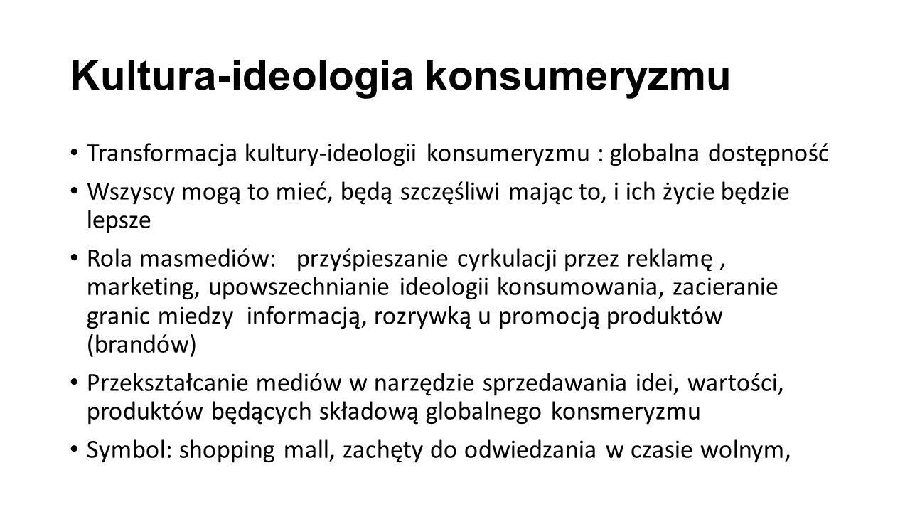Kultura-ideologia konsumeryzmu Transformacja kultury-ideologii konsumeryzmu : globalna dostępność Wszyscy mogą to mieć, będą szczęśliwi mając to, i ic