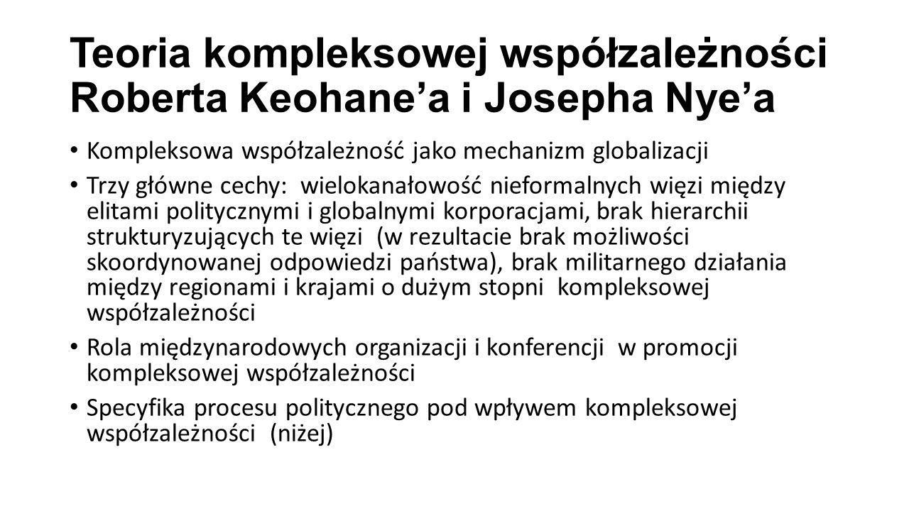Teoria kompleksowej współzależności Roberta Keohane'a i Josepha Nye'a Kompleksowa współzależność jako mechanizm globalizacji Trzy główne cechy: wielok
