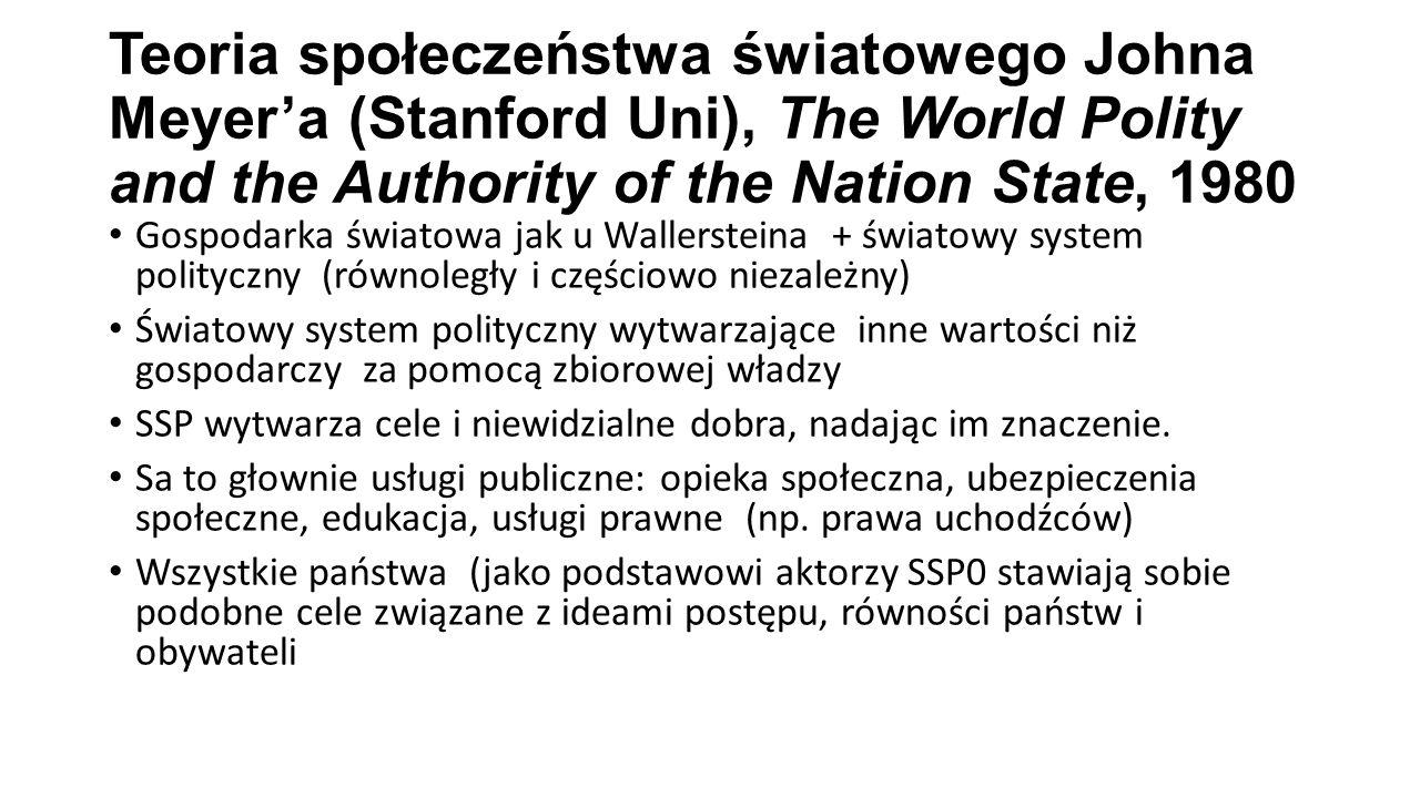Teoria społeczeństwa światowego Johna Meyer'a (Stanford Uni), The World Polity and the Authority of the Nation State, 1980 Gospodarka światowa jak u W