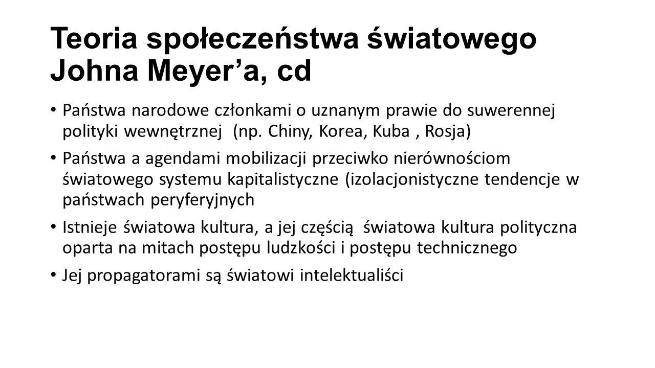 Teoria społeczeństwa światowego Johna Meyer'a, cd Państwa narodowe członkami o uznanym prawie do suwerennej polityki wewnętrznej (np. Chiny, Korea, Ku