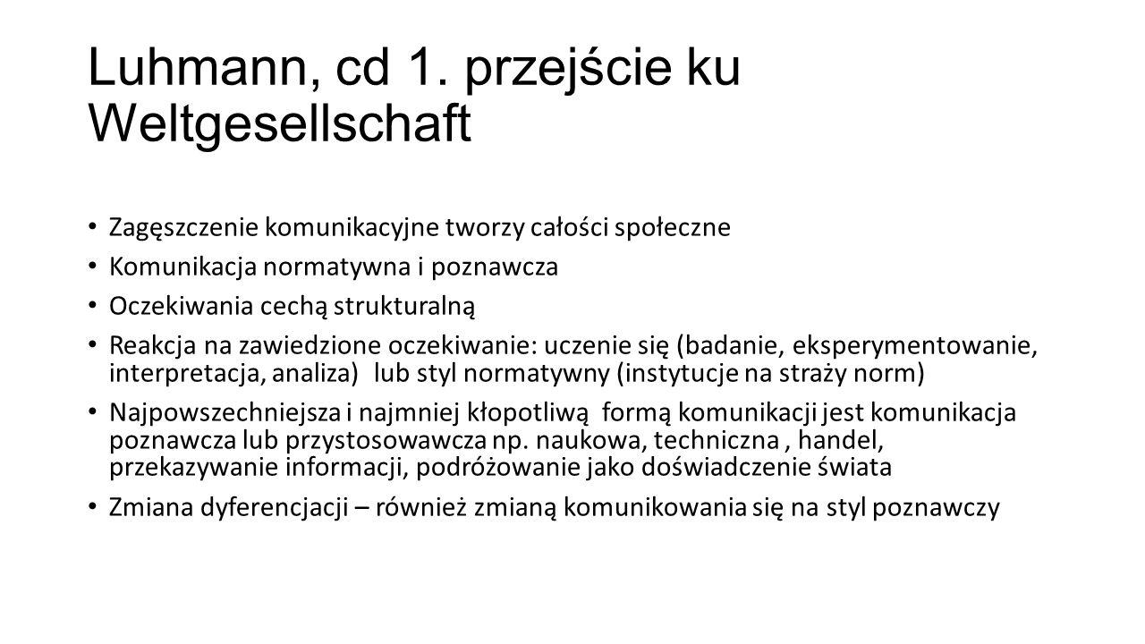 Luhmann, cd 1. przejście ku Weltgesellschaft Zagęszczenie komunikacyjne tworzy całości społeczne Komunikacja normatywna i poznawcza Oczekiwania cechą