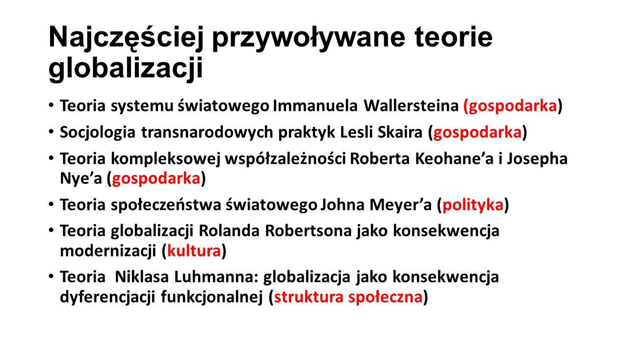 Najczęściej przywoływane teorie globalizacji Teoria systemu światowego Immanuela Wallersteina (gospodarka) Socjologia transnarodowych praktyk Lesli Sk