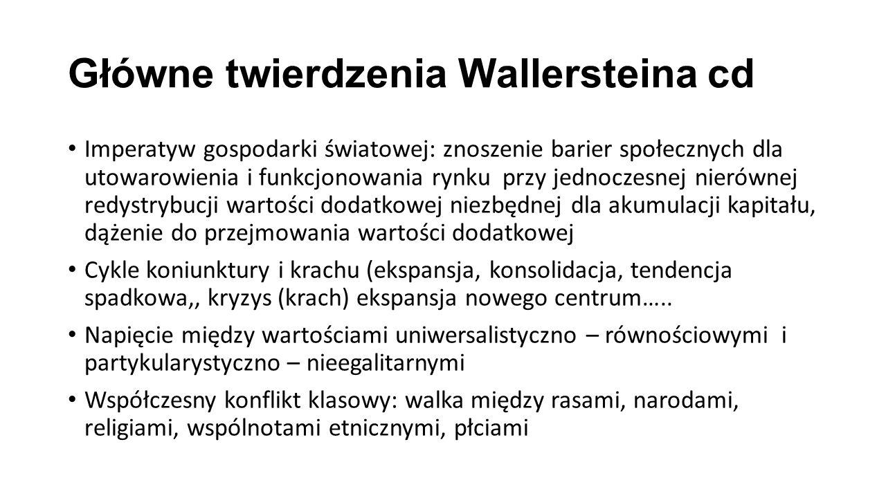 Główne twierdzenia Wallersteina cd Imperatyw gospodarki światowej: znoszenie barier społecznych dla utowarowienia i funkcjonowania rynku przy jednocze