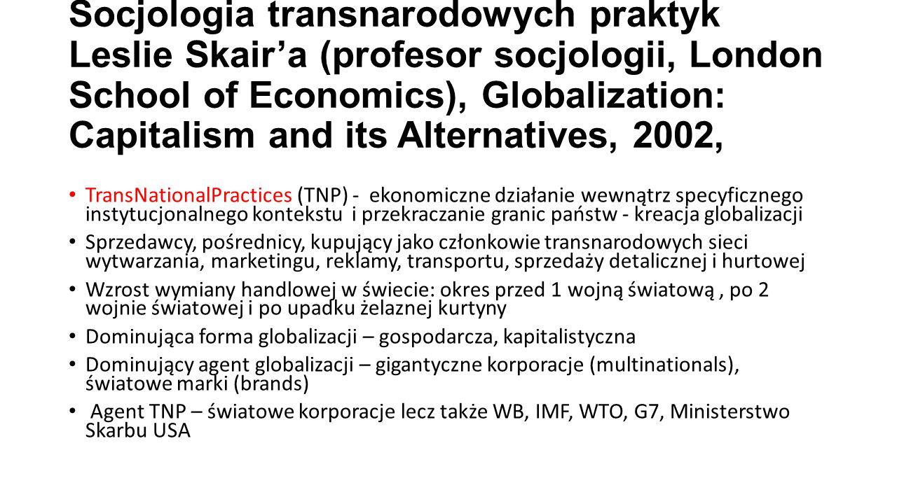 Socjologia transnarodowych praktyk Leslie Skair'a (profesor socjologii, London School of Economics), Globalization: Capitalism and its Alternatives, 2