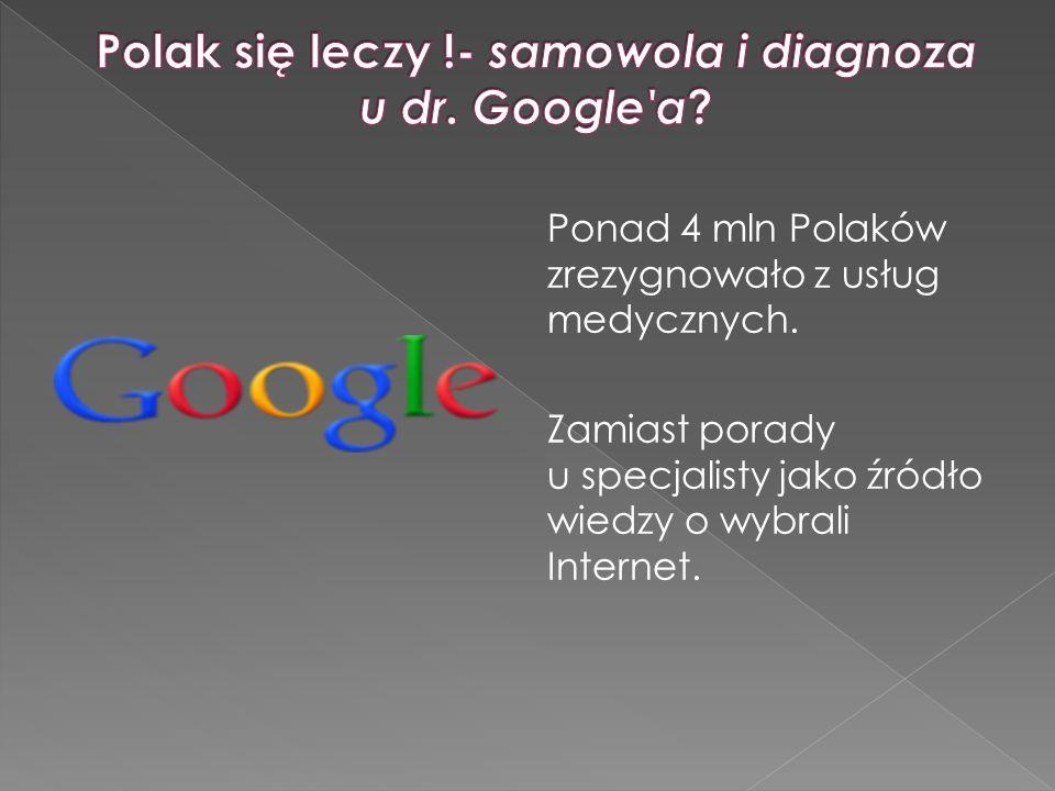 Ponad 4 mln Polaków zrezygnowało z usług medycznych. Zamiast porady u specjalisty jako źródło wiedzy o wybrali Internet.