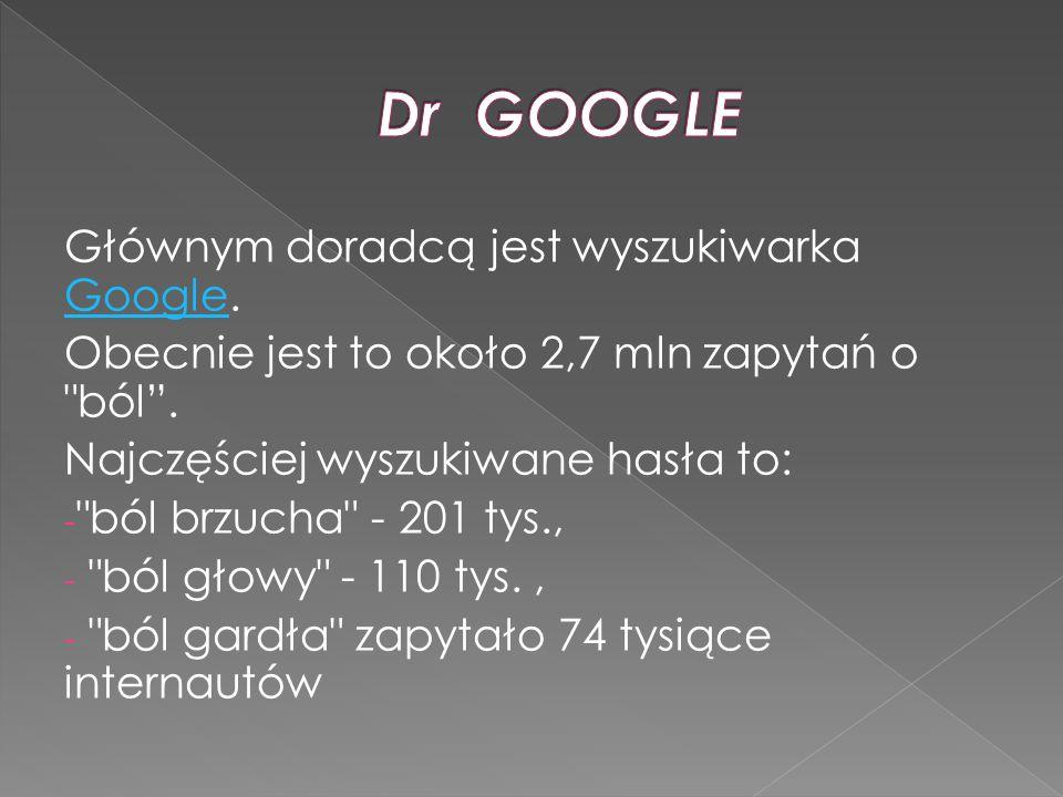 Głównym doradcą jest wyszukiwarka Google. Google Obecnie jest to około 2,7 mln zapytań o