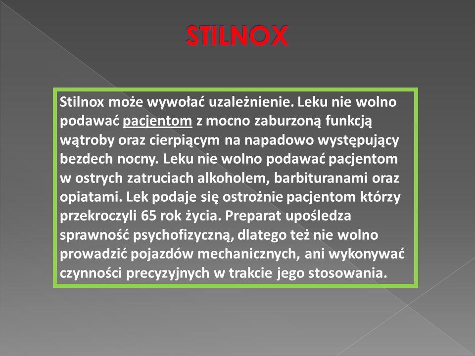 Stilnox może wywołać uzależnienie. Leku nie wolno podawać pacjentom z mocno zaburzoną funkcją wątroby oraz cierpiącym na napadowo występujący bezdech