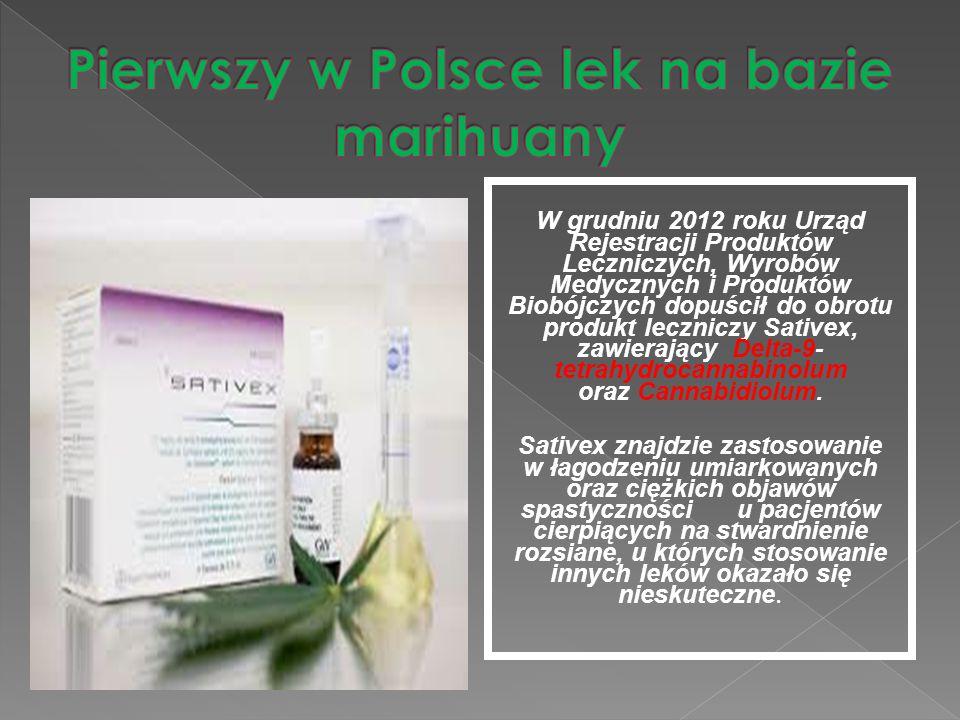 W grudniu 2012 roku Urząd Rejestracji Produktów Leczniczych, Wyrobów Medycznych i Produktów Biobójczych dopuścił do obrotu produkt leczniczy Sativex,