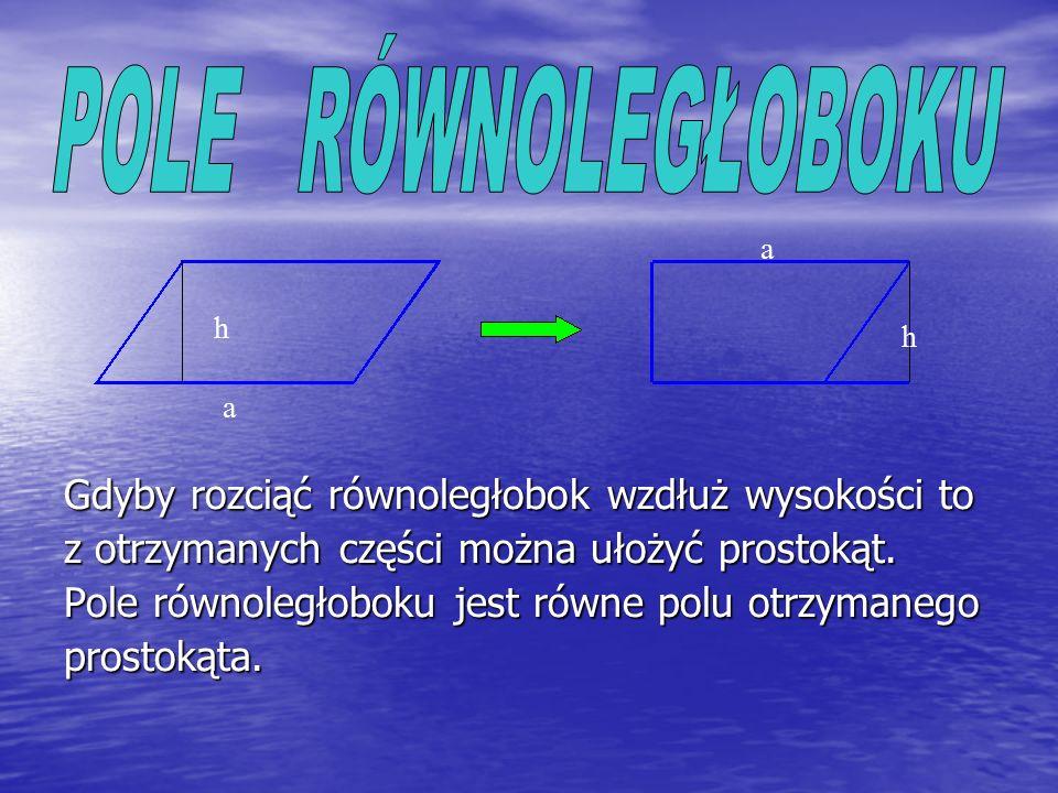 Ponieważ kwadrat jest prostokątem, jego pole obliczamy w ten sam sposób. Wzór na pole kwadratu : P = a · a gdzie a oznacza długość boku kwadratu Inna