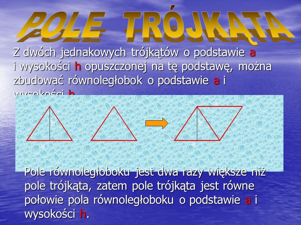 2. Dane są dwie przekątne rombu. Mając dwa jednakowe romby o przekątnych e i f, można z nich ułożyć prostokąt o bokach e i f. e f e Prostokąt składa s