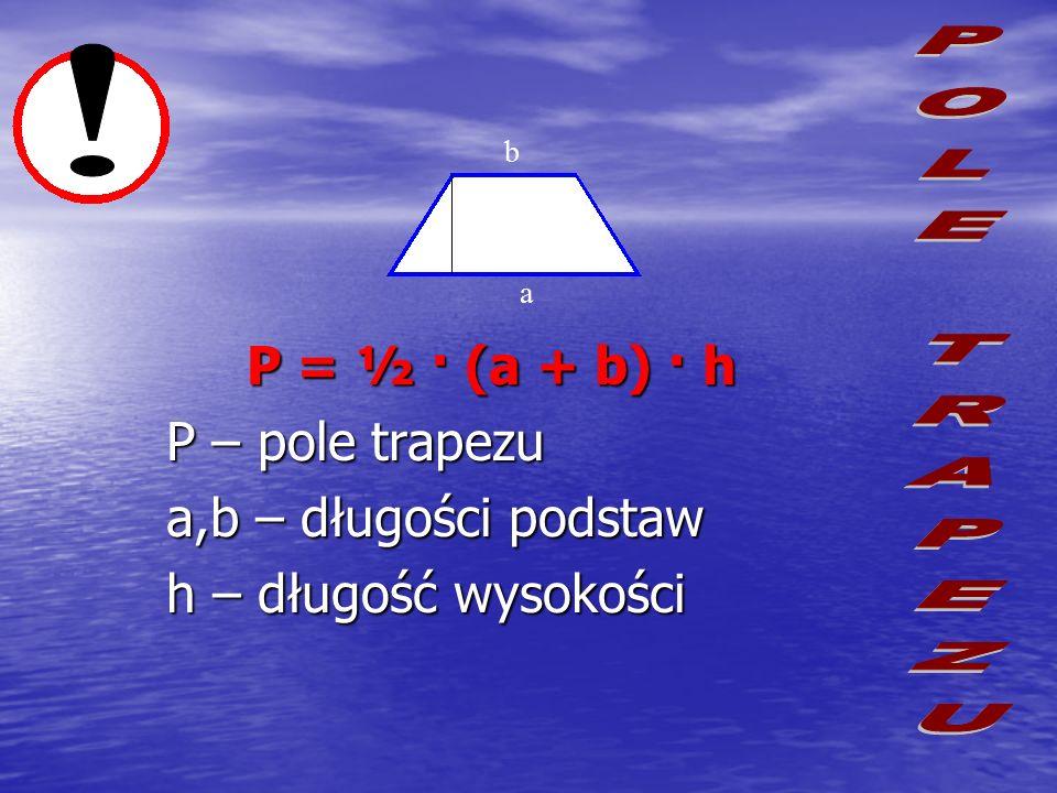 Z dwóch jednakowych trapezów o podstawach długości a i b oraz wysokości h można ułożyć równoległobok o wymiarach – podstawa a+b i wysokość h. Równoleg