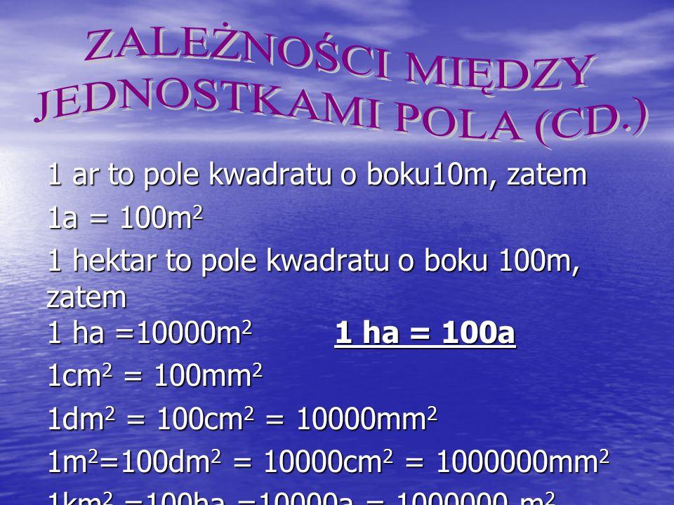 1 ar to pole kwadratu o boku10m, zatem 1a = 100m 2 1 hektar to pole kwadratu o boku 100m, zatem 1 ha =10000m 2 1 ha = 100a 1cm 2 = 100mm 2 1dm 2 = 100cm 2 = 10000mm 2 1m 2 =100dm 2 = 10000cm 2 = 1000000mm 2 1km 2 =100ha =10000a = 1000000 m 2