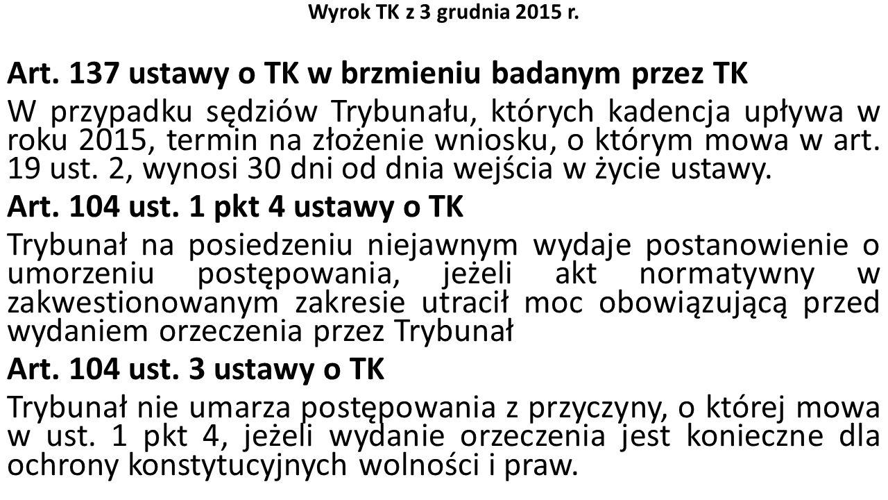 Wyrok TK z 3 grudnia 2015 r. Art.