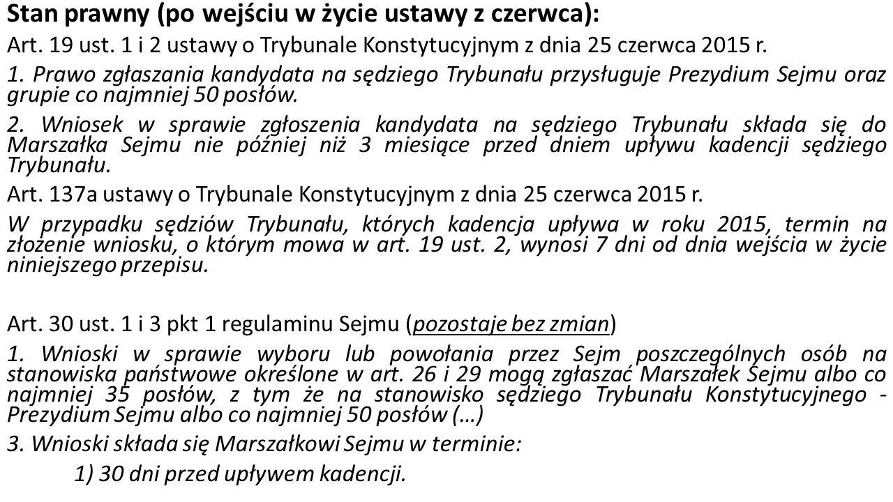 Wybór sędziów w październiku 2015 r.1. Zgłaszanie wniosków zgodnie z art.