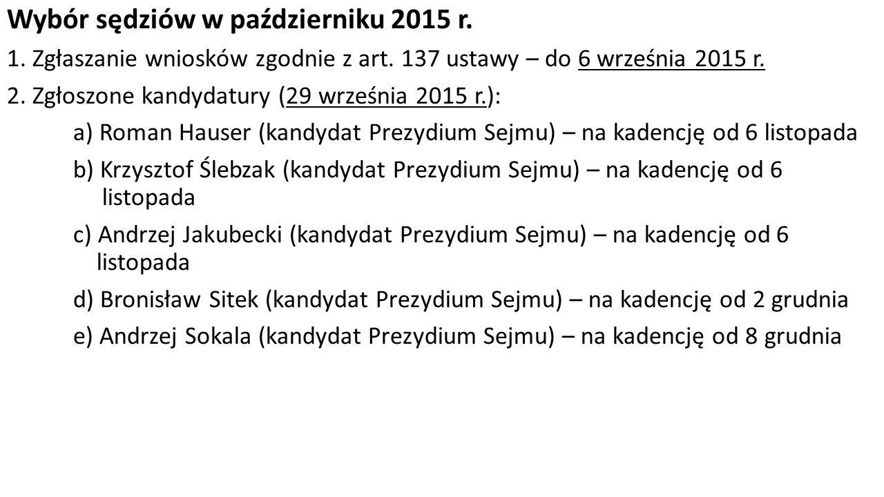 Wybór sędziów w październiku 2015 r. 1. Zgłaszanie wniosków zgodnie z art.