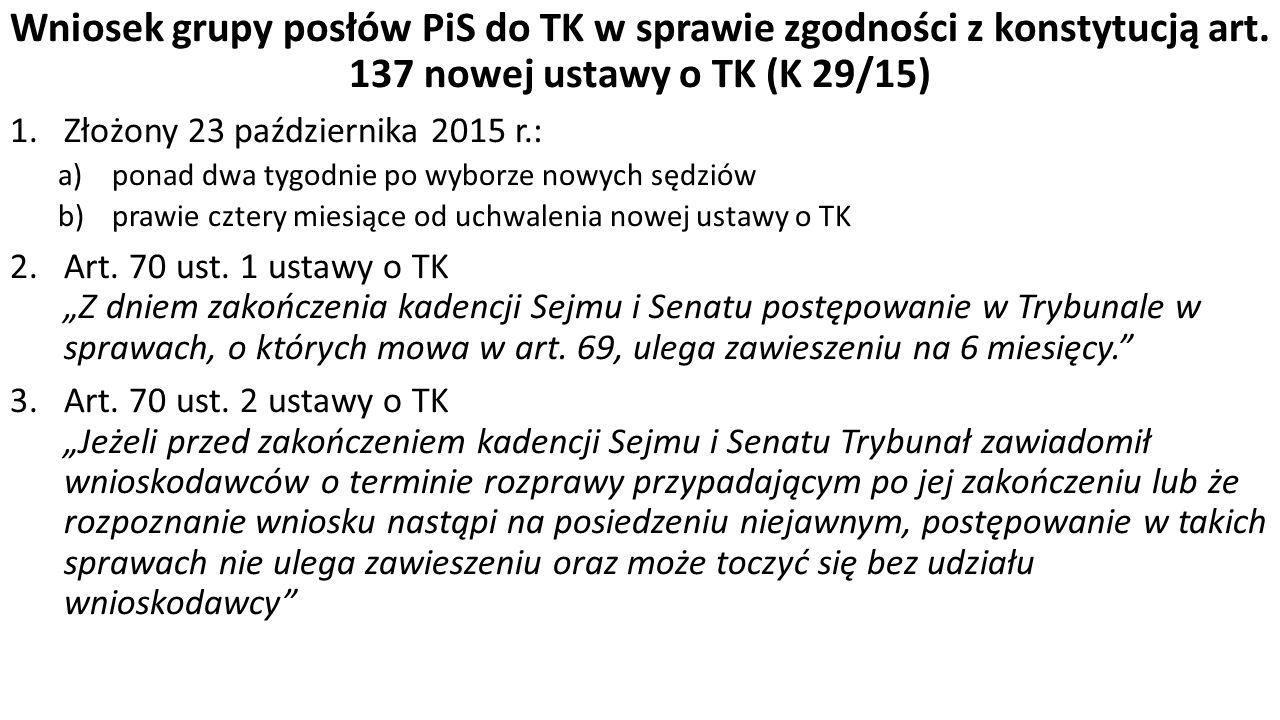 Wniosek grupy posłów PiS do TK w sprawie zgodności z konstytucją art.