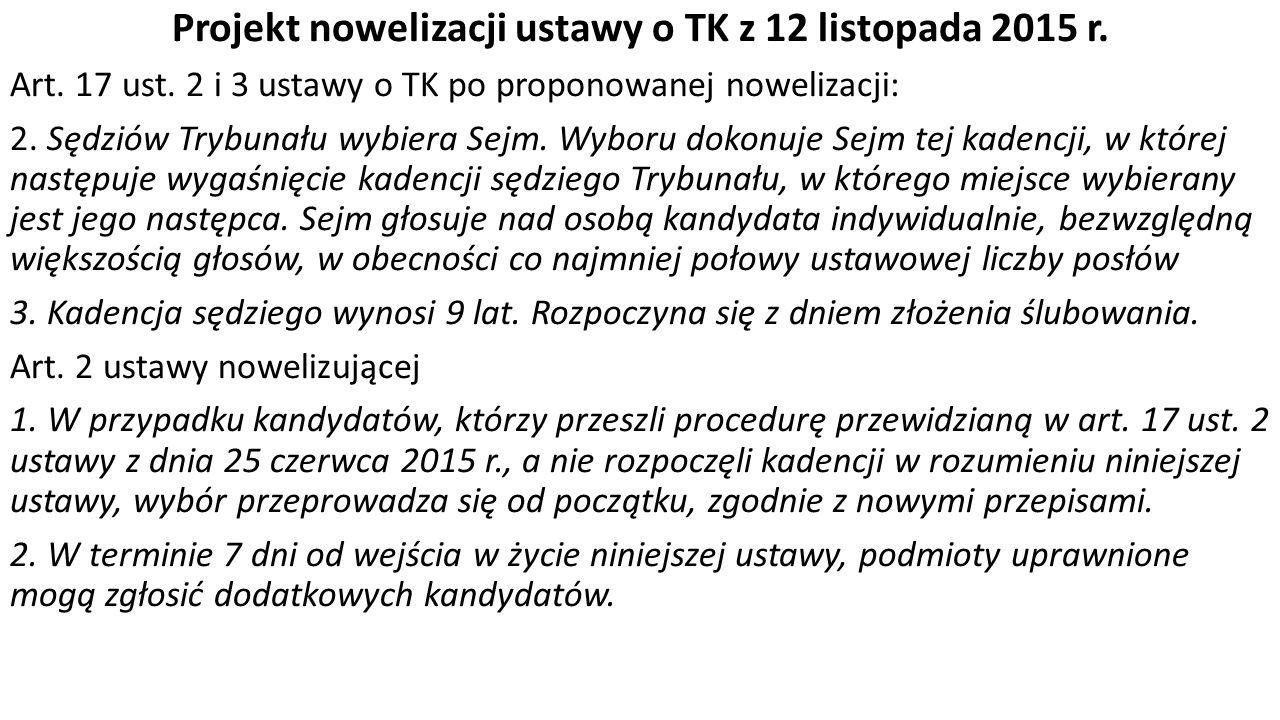 Projekt nowelizacji ustawy o TK z 12 listopada 2015 r.