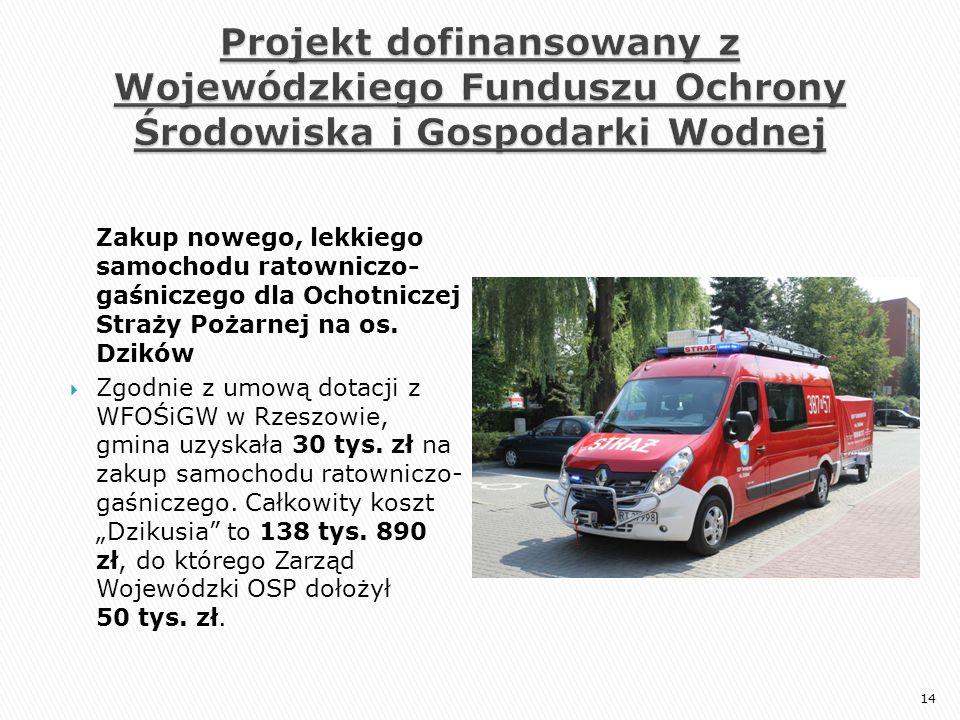 Zakup nowego, lekkiego samochodu ratowniczo- gaśniczego dla Ochotniczej Straży Pożarnej na os. Dzików  Zgodnie z umową dotacji z WFOŚiGW w Rzeszowie,