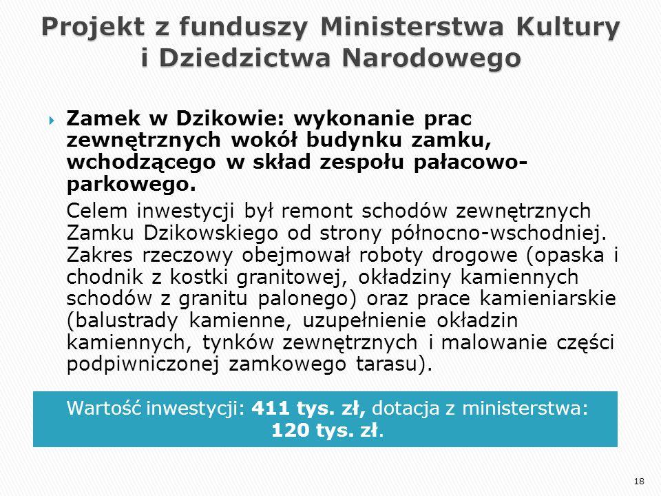 Wartość inwestycji: 411 tys. zł, dotacja z ministerstwa: 120 tys. zł.  Zamek w Dzikowie: wykonanie prac zewnętrznych wokół budynku zamku, wchodzącego