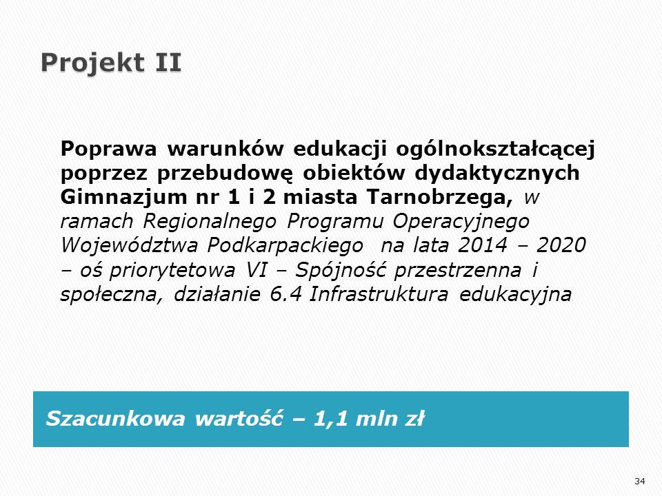 Szacunkowa wartość – 1,1 mln zł Poprawa warunków edukacji ogólnokształcącej poprzez przebudowę obiektów dydaktycznych Gimnazjum nr 1 i 2 miasta Tarnob