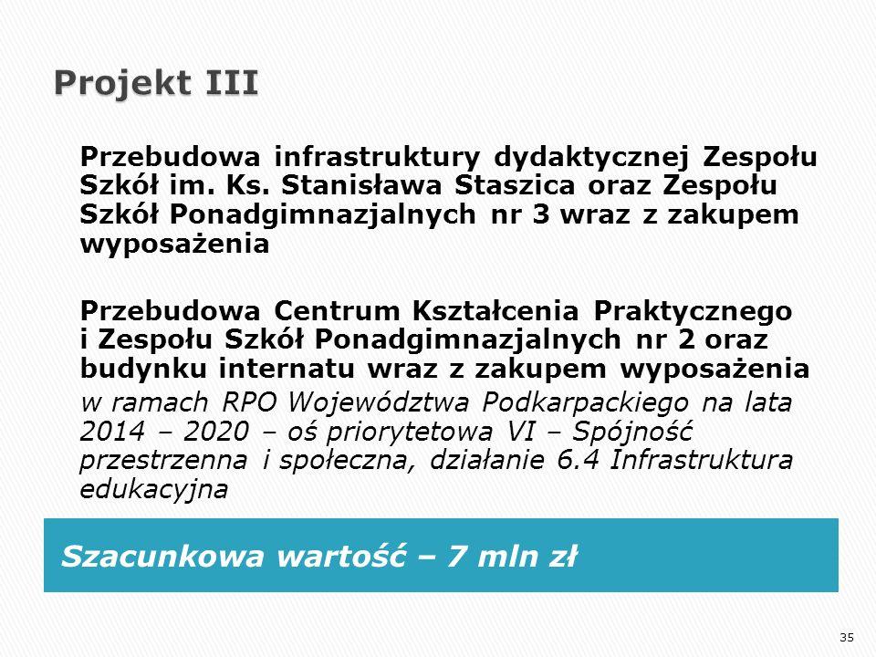 Szacunkowa wartość – 7 mln zł Przebudowa infrastruktury dydaktycznej Zespołu Szkół im. Ks. Stanisława Staszica oraz Zespołu Szkół Ponadgimnazjalnych n