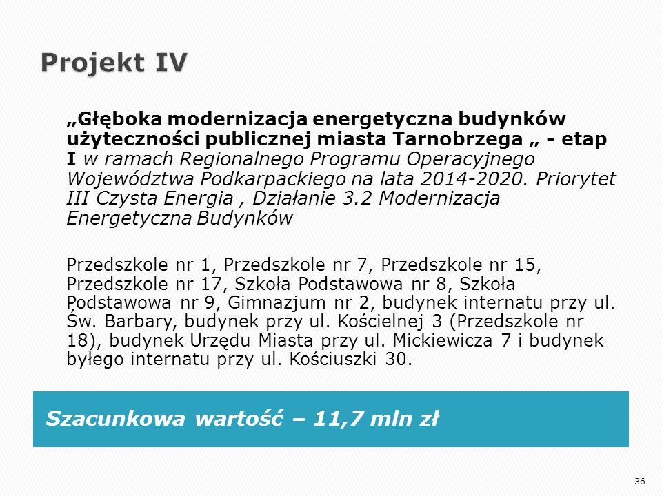 """Szacunkowa wartość – 11,7 mln zł """"Głęboka modernizacja energetyczna budynków użyteczności publicznej miasta Tarnobrzega """" - etap I w ramach Regionalne"""