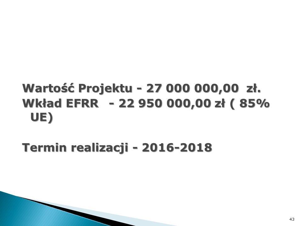 Wartość Projektu - 27 000 000,00 zł. Wkład EFRR- 22 950 000,00 zł ( 85% UE) Termin realizacji - 2016-2018 43