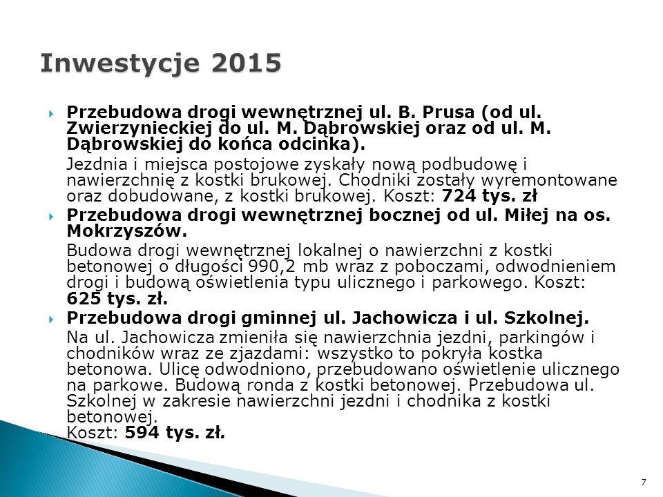 Przebudowa drogi wewnętrznej ul. B. Prusa (od ul. Zwierzynieckiej do ul. M. Dąbrowskiej oraz od ul. M. Dąbrowskiej do końca odcinka). Jezdnia i miej