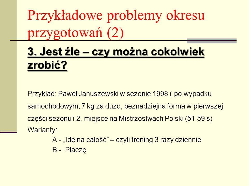 Przykładowe problemy okresu przygotowań (2) 3.Jest źle – czy można cokolwiek zrobić.