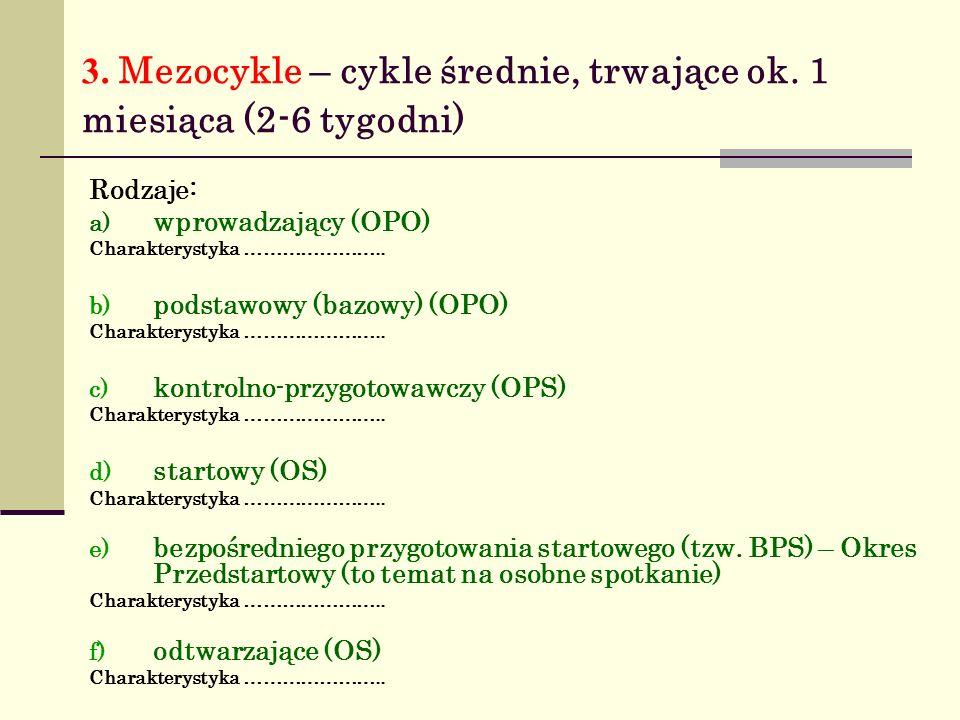 3.Mezocykle – cykle średnie, trwające ok.