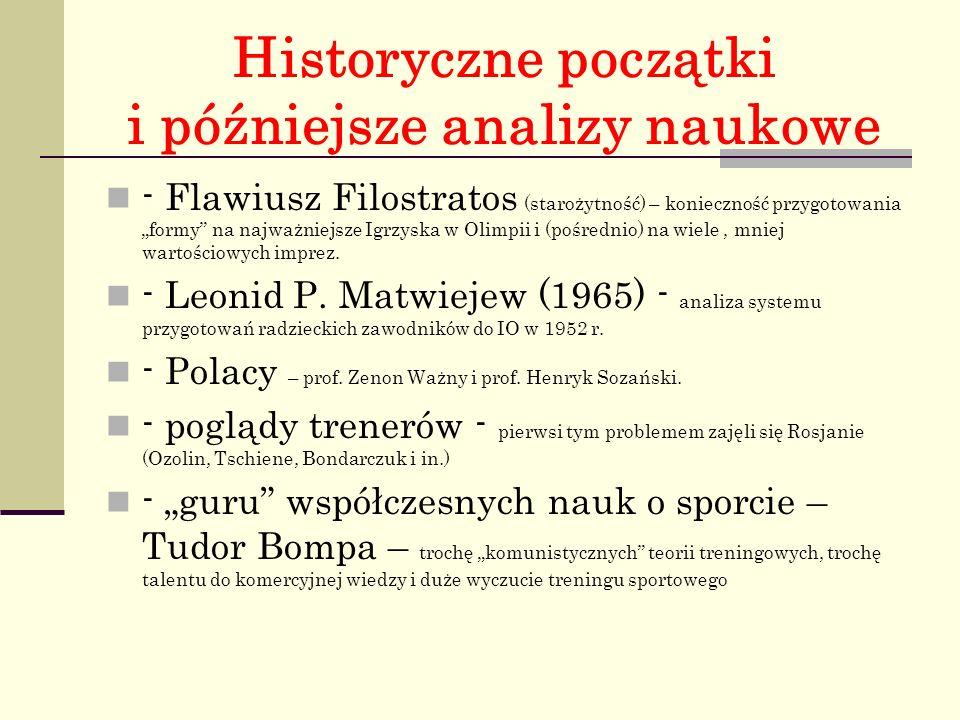 """Historyczne początki i późniejsze analizy naukowe - Flawiusz Filostratos (starożytność) – konieczność przygotowania """"formy na najważniejsze Igrzyska w Olimpii i (pośrednio) na wiele, mniej wartościowych imprez."""