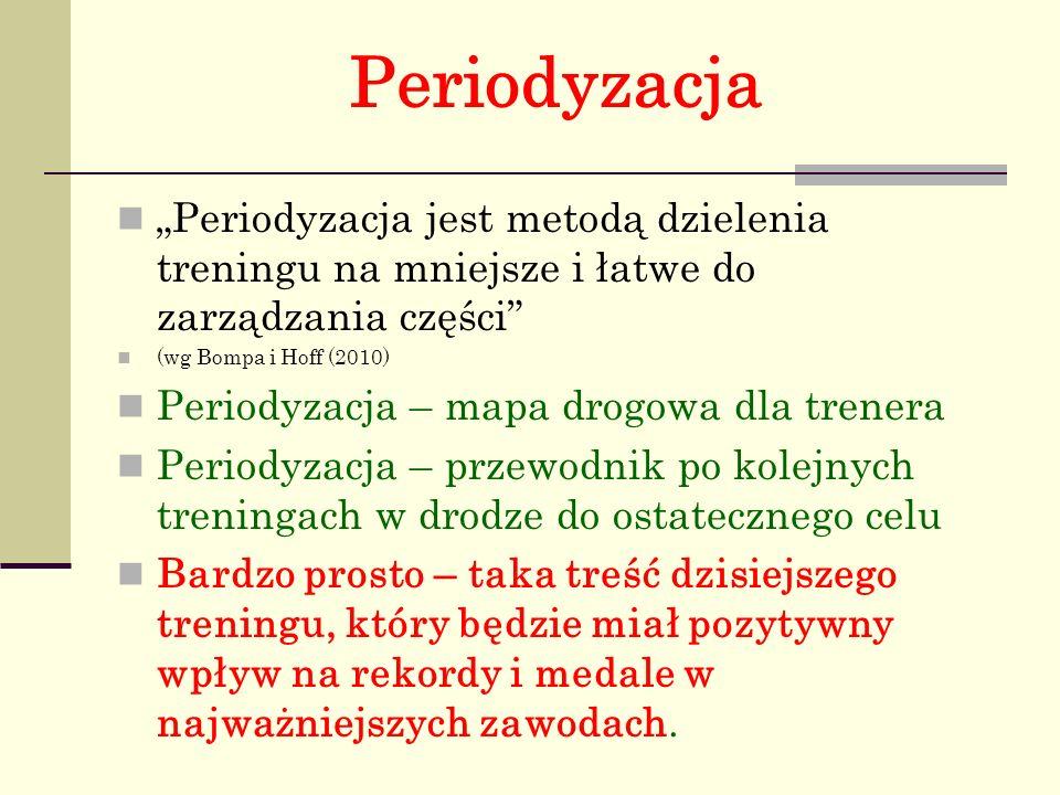 Periodyzacja : Struktura czasowa treningu obejmuje: polimakrocykle – cykle wieloletnie (zwykle 4-letnie), makrocykle – cykle długie (duże, roczne), mezocykle – cykle średnie (np.