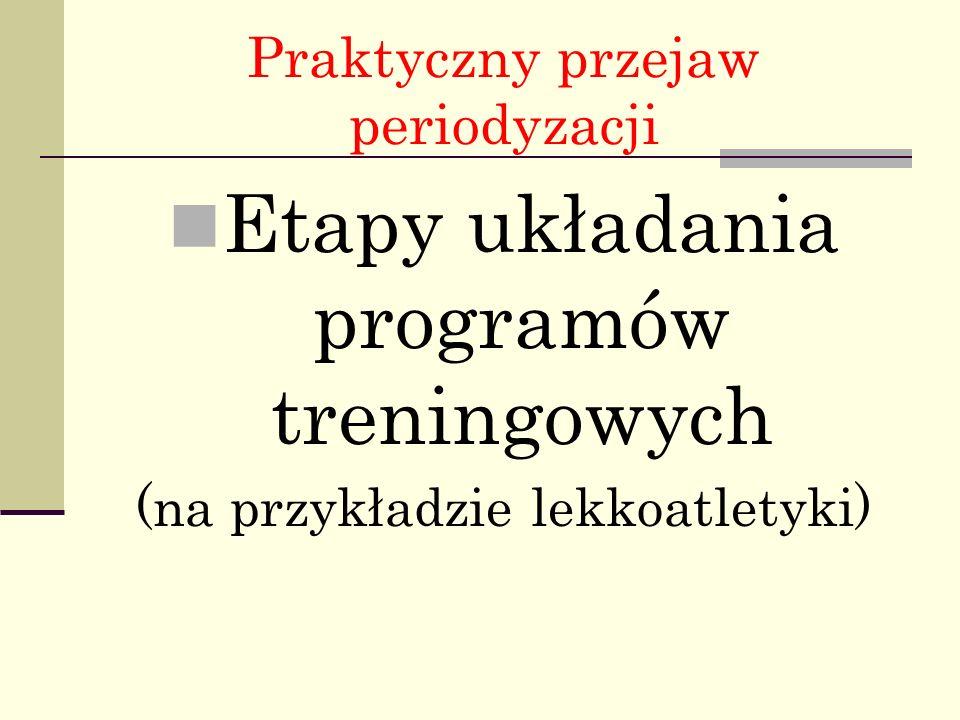 Praktyczny przejaw periodyzacji Etapy układania programów treningowych (na przykładzie lekkoatletyki)