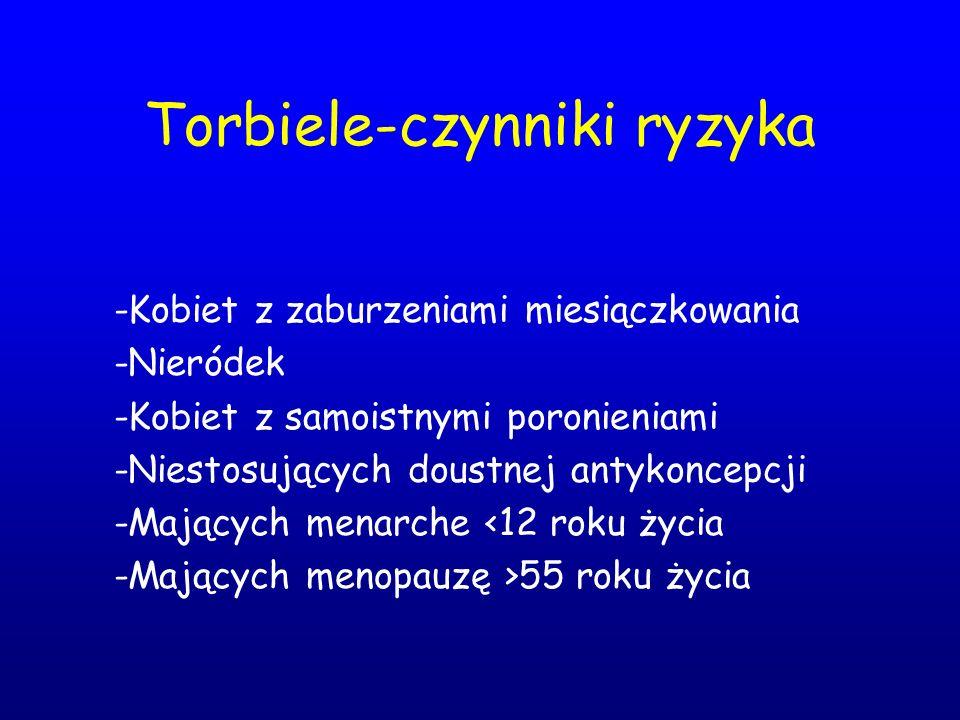 Torbiele-czynniki ryzyka -Kobiet z zaburzeniami miesiączkowania -Nieródek -Kobiet z samoistnymi poronieniami -Niestosujących doustnej antykoncepcji -M