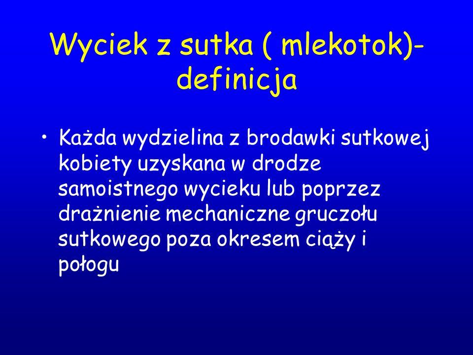 Wyciek z sutka ( mlekotok)- definicja Każda wydzielina z brodawki sutkowej kobiety uzyskana w drodze samoistnego wycieku lub poprzez drażnienie mechan