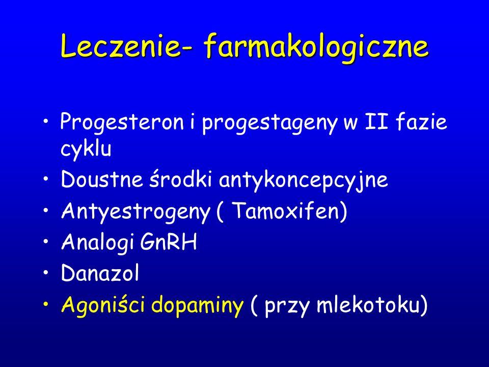 Leczenie- farmakologiczne Progesteron i progestageny w II fazie cyklu Doustne środki antykoncepcyjne Antyestrogeny ( Tamoxifen) Analogi GnRH Danazol A