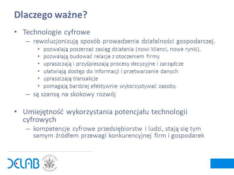 Dlaczego ważne? Technologie cyfrowe – rewolucjonizują sposób prowadzenia działalności gospodarczej. pozwalają poszerzać zasięg działania (nowi klienci