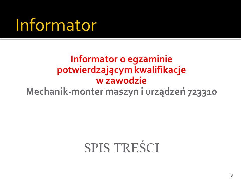Informator o egzaminie potwierdzającym kwalifikacje w zawodzie Mechanik-monter maszyn i urządzeń 723310 SPIS TREŚCI 18