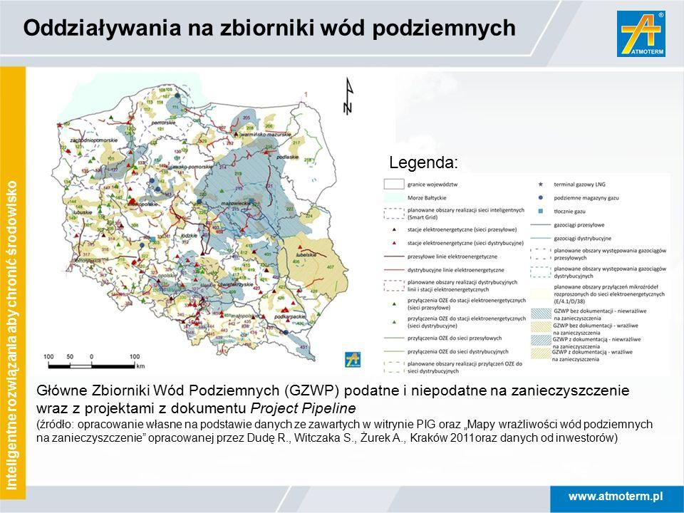 www.atmoterm.pl Inteligentne rozwiązania aby chronić środowisko Oddziaływania na zbiorniki wód podziemnych Legenda: Główne Zbiorniki Wód Podziemnych (