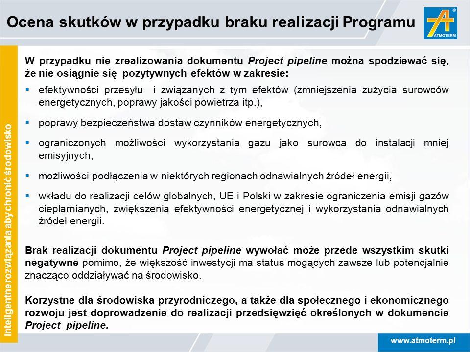 www.atmoterm.pl Inteligentne rozwiązania aby chronić środowisko Ocena skutków w przypadku braku realizacji Programu W przypadku nie zrealizowania doku