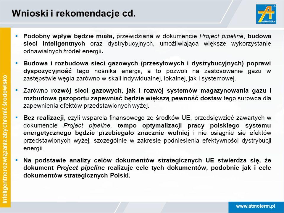www.atmoterm.pl Inteligentne rozwiązania aby chronić środowisko Wnioski i rekomendacje cd.  Podobny wpływ będzie miała, przewidziana w dokumencie Pro