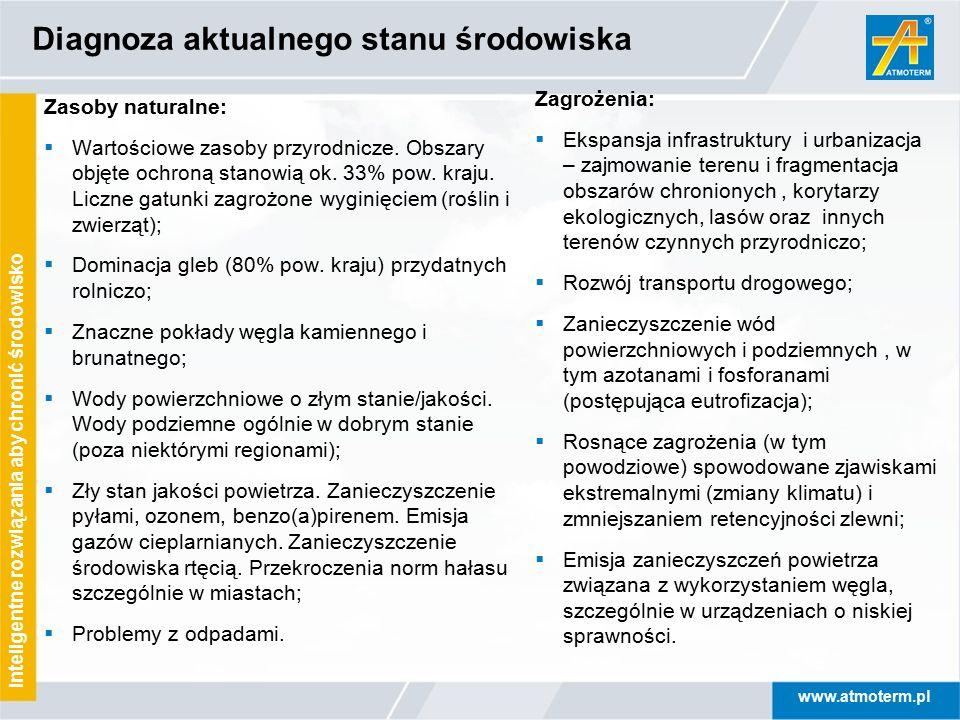 www.atmoterm.pl Inteligentne rozwiązania aby chronić środowisko Diagnoza aktualnego stanu środowiska Zasoby naturalne:  Wartościowe zasoby przyrodnic