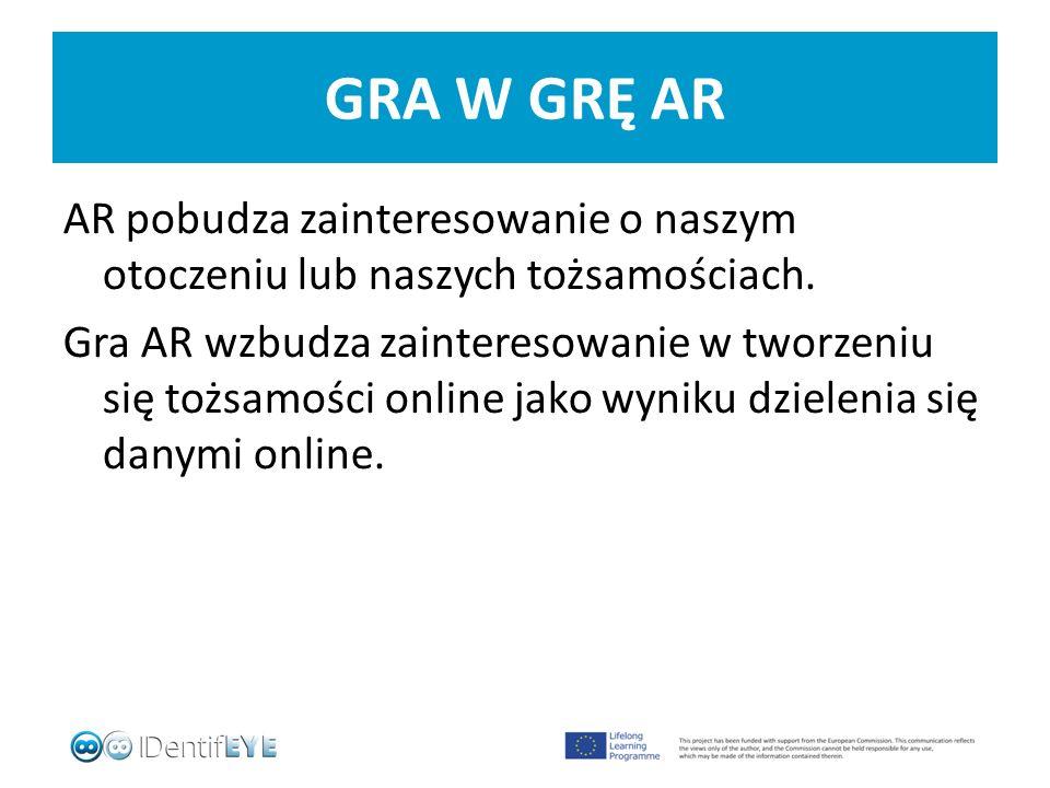 GRA W GRĘ AR AR pobudza zainteresowanie o naszym otoczeniu lub naszych tożsamościach.