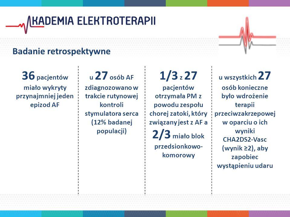Badanie retrospektywne 36 pacjentów miało wykryty przynajmniej jeden epizod AF u 27 osób AF zdiagnozowano w trakcie rutynowej kontroli stymulatora serca (12% badanej populacji) 1/3 z 27 pacjentów otrzymała PM z powodu zespołu chorej zatoki, który związany jest z AF a 2/3 miało blok przedsionkowo- komorowy u wszystkich 27 osób konieczne było wdrożenie terapii przeciwzakrzepowej w oparciu o ich wyniki CHA2DS2-Vasc (wynik ≥2), aby zapobiec wystąpieniu udaru