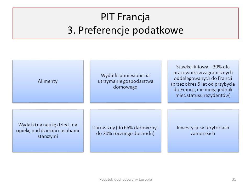 PIT Francja 3. Preferencje podatkowe Alimenty Wydatki poniesione na utrzymanie gospodarstwa domowego Stawka liniowa – 30% dla pracowników zagranicznyc